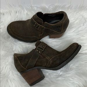 Born Brown Suede Boots Stacked Heel size 6